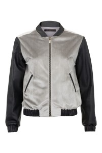 Bomber type jacket with leather sleeves made of silk velvet