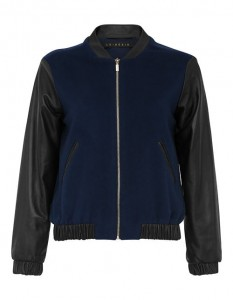 Bomber type jacket with leather sleeves made of high quality cashmere