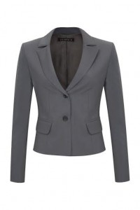 Jacket with symmetrical lapels and cuffs vents made of gray wool