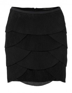 Short skirt with pleated tabs