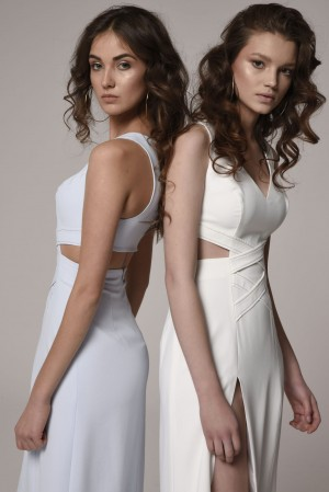 White dress with decorative stitching