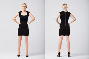Black fitted sleeveless dress and gold zipper at the back