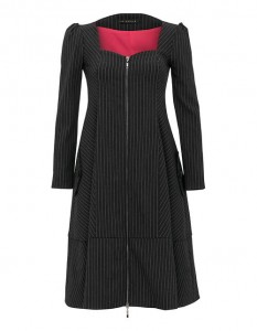 Black dress with white stripes fastened with a decorative zipper
