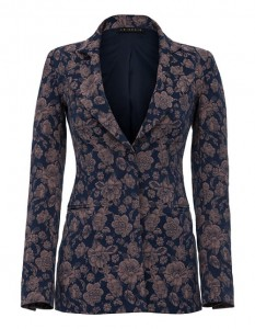 Navy jacket with floral pattern