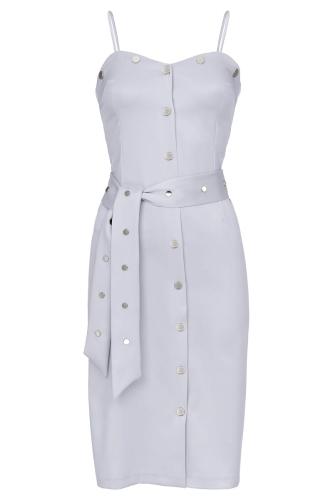 2cc96350 Błękitna sukienka midi na ramiączkach z nitami